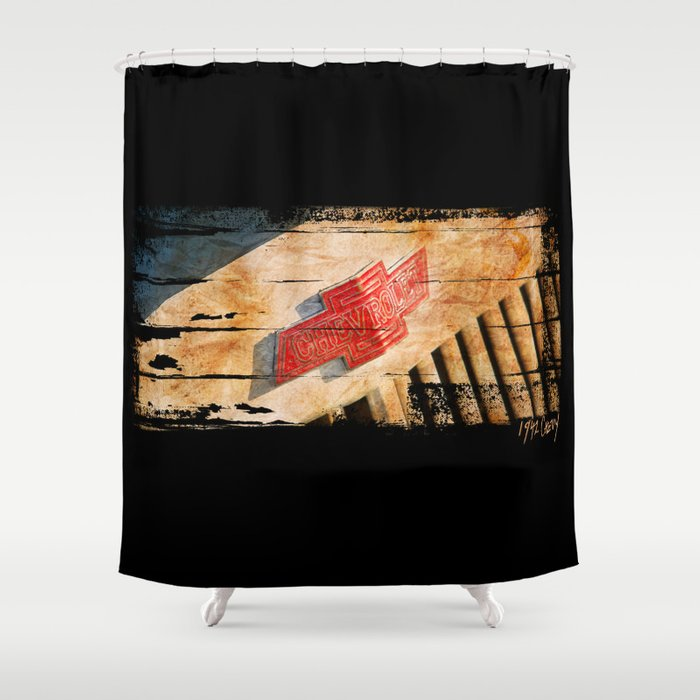 Chevy Rat Rod Badge Shower Curtain By Blulime