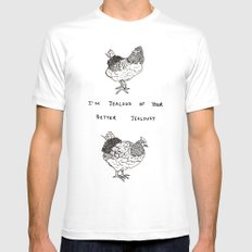 Jealous Chicken (2) SMALL White Mens Fitted Tee