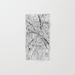 Paris White Map Hand & Bath Towel
