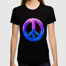 Watercolor Tie Dye Peace Sign Pink Blue on White T-shirt
