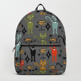Party All Night Cats Retro on Dark Gray Backpack