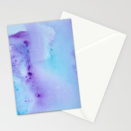Abstract Watercolor Art Blue And Purple Modern Painting Stationery Cards