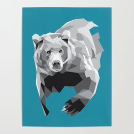Geometric Grey Bear Poster