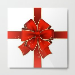 Red Bow on white Metal Print