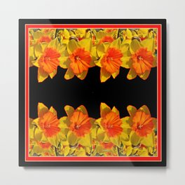 Ebony Black Night Golden Dafffodils Red Accents Metal Print