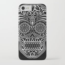 Intricate White and Black Day of the Dead Sugar Skull iPhone Case