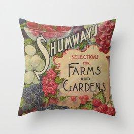Seed Catalog Garden Floral Fruit Raspberry Blackberry Plate Frame Strawberry Grapes Throw Pillow