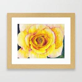 Yellow Rose Watercolor Framed Art Print