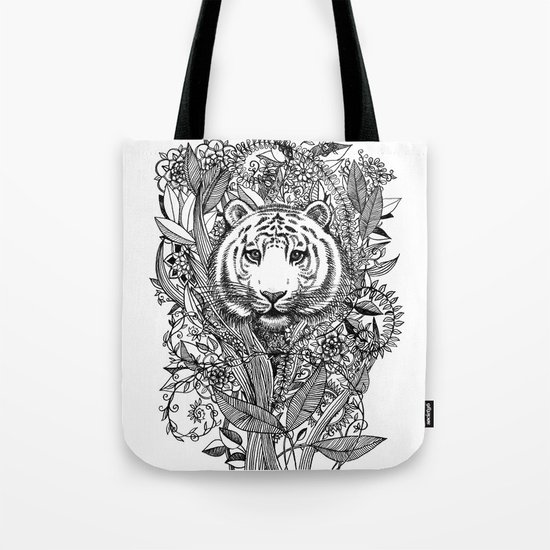 Tiger Tangle in Black and White Tote Bag