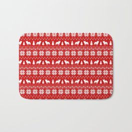 French Bulldog Silhouettes Christmas Sweater Pattern Bath Mat