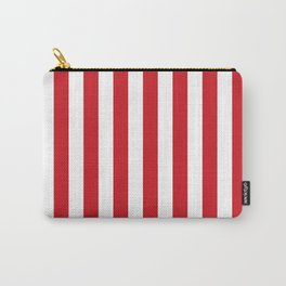 Narrow Vertical Stripes - White and Fire Engine Red Carry-All Pouch