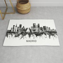 Madrid Spain Skyline BW Rug