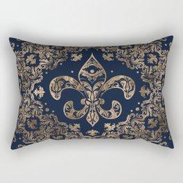 Luxury Fleur-de-lis Ornament - gold and dark blue Rectangular Pillow