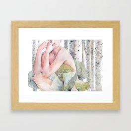 Savana in the birch forest Framed Art Print