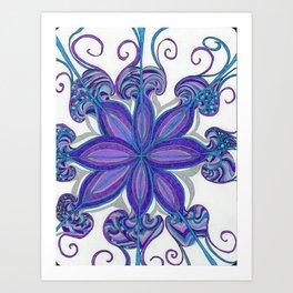 Bloom in Aqua & Purple Art Print
