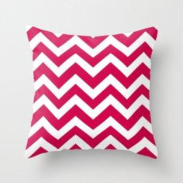 Spanish carmine - fuchsia color - Zigzag Chevron Pattern Throw Pillow