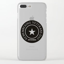 Veterans Day Commemorative Emblem Badge Shield Clear iPhone Case