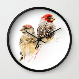 Red Headed Finches Wall Clock