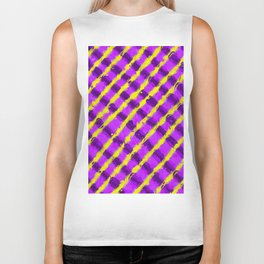 line pattern painting abstract background in purple and yellow Biker Tank