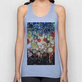 Contemporary Blue Orange Bubble Abstract Unisex Tank Top