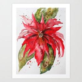 Bright Red Poinsettia Watercolor Art Print