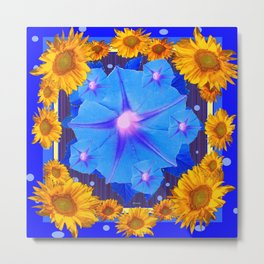 Blue Morning Glory Yellow Sunflowers Floral Pattern Metal Print