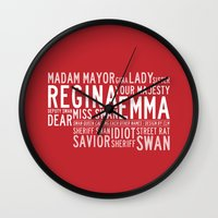 swan queen Wall Clocks featuring Swan Queen Nicknames - Red (OUAT) by CLM Design