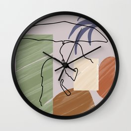 Original Romantic Minimalist Couple Art,  One Line Drawing Print, Anniversary gift, Modern Wall Art Wall Clock
