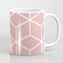 Blush Pink and White - Geometric Textured Cube Design Coffee Mug