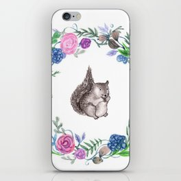 Squirrel and Wreath Watercolor iPhone Skin