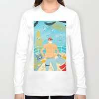 murray Long Sleeve T-shirts featuring Thrill Murray by Nicholas Stevenson