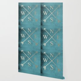 Gold on Turquoise Distressed Compass Adventure Design Wallpaper