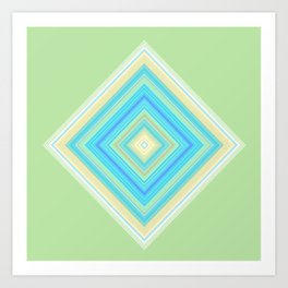 Diamond Pattern Green teal Art Print