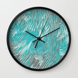 feathered lines in teal Wall Clock