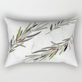Eucalyptus Leaves White Rectangular Pillow