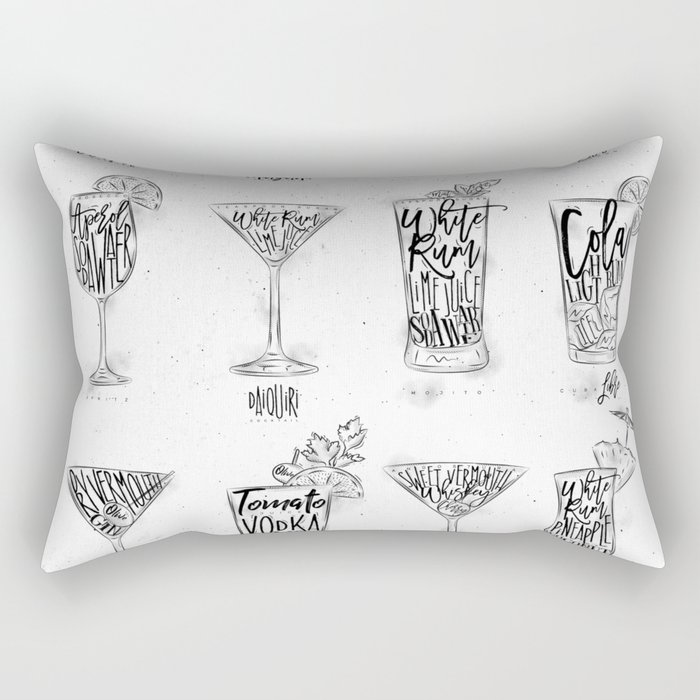 Cocktail menu graphic Rectangular Pillow