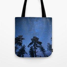 Shimmering Blue Night Sky Stars Tote Bag