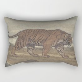 Vintage Illustration of a Striped Tiger (1875) Rectangular Pillow
