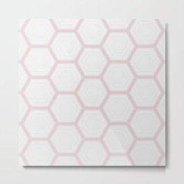 Pink White Marble Geometric Pattern Metal Print