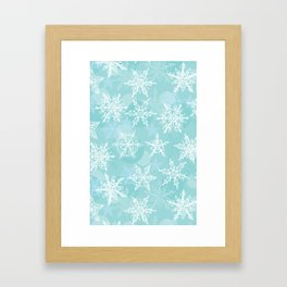blue winter background with white snowflakes Framed Art Print