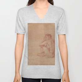 Male Nude Classic Figure Drawing Zen Peaceful Meditation Unisex V-Neck