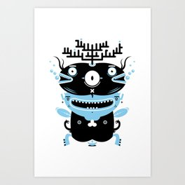 Black and blue fish creature Art Print