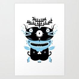 Black and blue fish creature Art Print