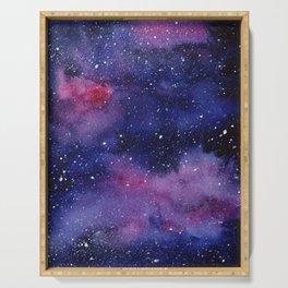 Watercolor Galaxy Nebula Pink Purple Sky Stars Serving Tray