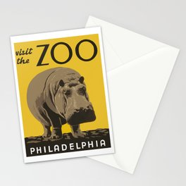 Vintage Visit The Zoo Hippo Stationery Cards