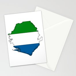Sierra Leone Map with Sierra Leonean Flag Stationery Cards
