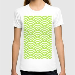 Lime Green Japanese Waves Pattern T-shirt