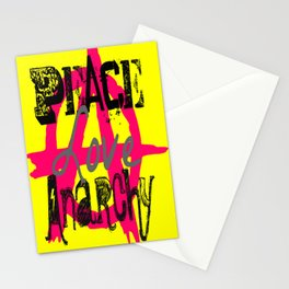 Peace Love Anarchy Stationery Cards