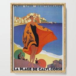 Vintage poster - La Plage de Calvi, La Corse, France Serving Tray