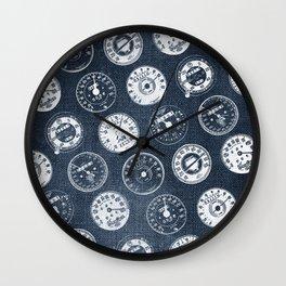 Vintage Denim Motorcycle Speedometers Wall Clock
